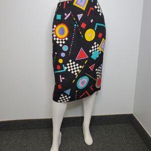 VINTAGE 80s funky patterned 100% silk pencil skirt